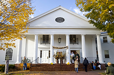 The Weston Town Hall decorated for a craft fair on Columbus Day weekend, Weston, Vermont, New England, United States of America, North America