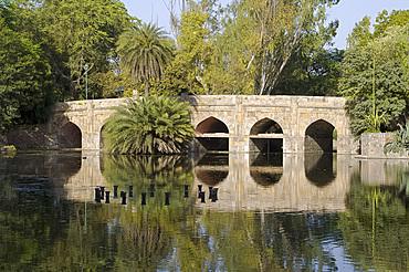 A bridge in the Lodi Gardens, New Delhi, India, Asia