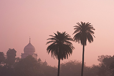 A misty silhouette at sunrise of the Gurdwar Dam Dama Sahib from the garden at Humayun's Tomb, New Dehli, India, Asia