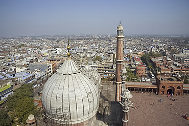 The view from a minaret of a dome at the Jami Masjid Mosque in Old Dehli, India, Asia