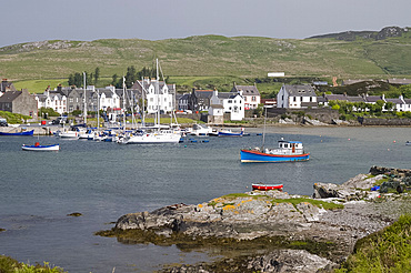 Fishing boats in the harbour at Port Ellen, Isle of Islay, Inner Hebrides, Scotland, United Kingdom, Europe
