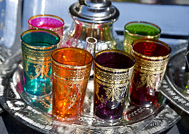 A set of colourful tea glasses for sale in the souk, in Marrakech, Morocco, North Africa, Africa