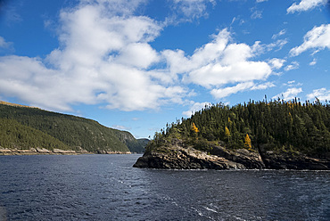 A scenic view along the Saguenay River in Quebec Province, Canada, North America