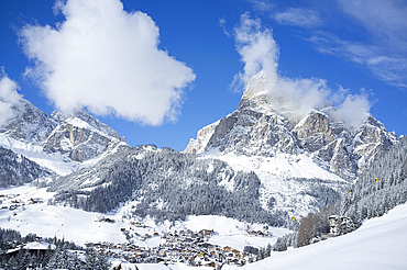 A view toward Corvara and Sassongher Mountain from the ski resort of Alta Badia in the Dolomites in the South Tyrol, Italy, Europe