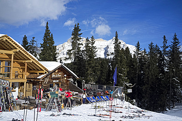 A mountain restaurant at the Alta Badia ski resort in the Dolomites in the South Tyrol, Italy, Europe