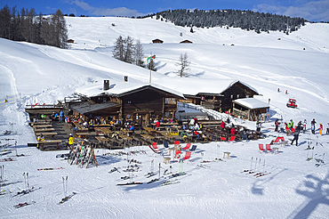 An aerial view of a mountain restaurant in the Alpe di Suisi ski resort near the town of Ortisei in the Dolomites, South Tyrol, Italy, Europe