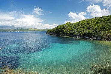 A small bay near the town of Agios Stefanos on northeast coast of Corfu, Ionian Islands, Greek Islands, Greece, Europe