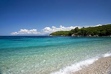 Avlaki Beach on the northeast coast of the island of Corfu near the town of Cassiopi, Corfu, Ionian Islands, Greek Islands, Greece, Europe