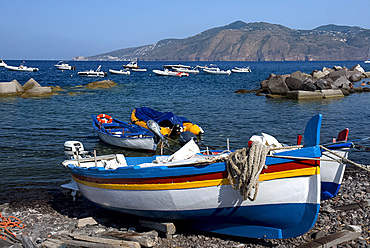 Colourful wooden fishing boats in Lingua, Salina, The Aeolian Islands, UNESCO World Heritage Site, off Sicily, Messina Province, Italy, Mediterranean, Europe