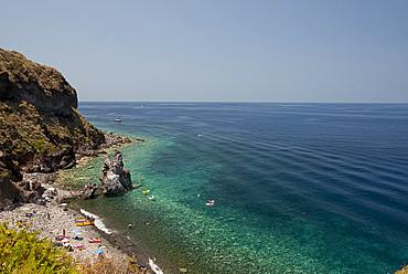 A rocky beach near Malfa on the island of Salina, The Aeolian Islands, UNESCO World Heritage Site, off Sicily, Messina Province, Italy, Mediterranean, Europe