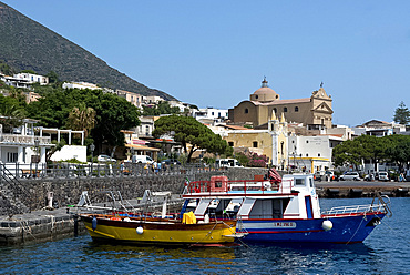 Colourful wooden boats in Santa Marina, Salina Island, The Aeolian Islands, UNESCO World Heritage Site, off Sicily, Messina Province, Italy, Mediterranean, Europe