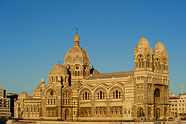 A late afternoon view of the romanesque Cathedral de la Major in Marseilles, Bouches du Rhone, Provence, France, Europe