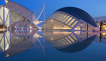 A view of the Hemisferic and Agora buildings in the City of Arts and Sciences at dusk, Valencia, Valenciana, Spain, Europe
