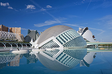 The Hemisferic building and reflecting pool in the Arts and Science Centre in Valencia, Valenciana, Spain, Europe