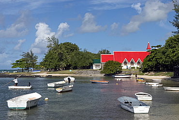 The red roofed church at Cap Malheureux on the northwest coast of Mauritius, Indian Ocean, Africa