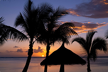 Sunset through palm trees on the beach at the Lux Le Morne Hotel on Le Morne Brabant Peninsula on the south west coast of Mauritius, Indian Ocean, Africa