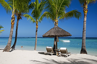 Palm trees and a white sand beach near the Lux Le Morne Hotel, on the Le Morne Brabant Peninsula, Mauritius, Indian Ocean, Africa