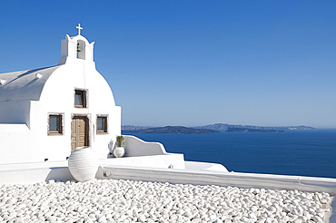 A white washed church in Oia, Santorini, The Cyclades, Greek Islands, Greece, Europe