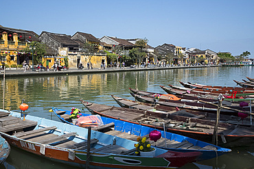Rowboats along the Thu Bon River in Hoi An, Quang Nam Province, Vietnam, Indochina, Southeast Asia, Asia