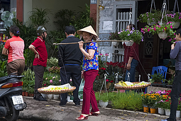 A Vietnamese woman selling fruit from baskets on Hoang Hoa Tham Street, Hanoi, Vietnam, Indochina, Southeast Asia, Asia