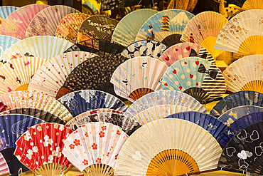 Colourful Japanese fans for sale at a souvenir shop in Kyoto, Japan, Asia