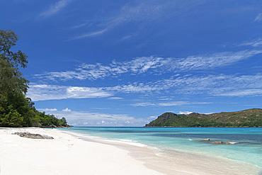 A view along Anse Boudin toward Curieuse Island from Praslin, Seychelles, Indian Ocean, Africa