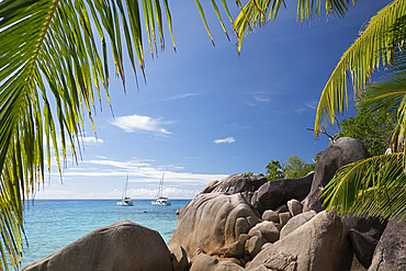 Distinctive limestone rock formations at Anse Lazio on Baie Chevalier, Praslin, Seychelles, Indian Ocean, Africa