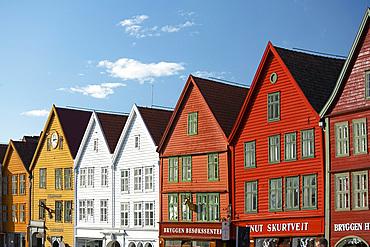 Colourfully painted timber buildings in Bryggen, the old harbour in Bergen, UNESCO World Heritage Site, Bergen, Vestlandet, Norway, Scandinavia, Europe