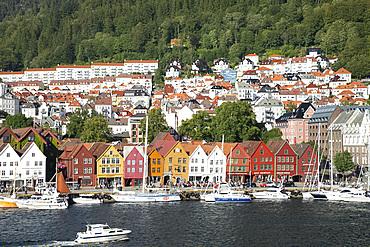 Colourful old timber buildings around the harbour in Bryggen, UNESCO World Heritage Site, Bergen, Vestlandet, Norway, Scandinavia, Europe