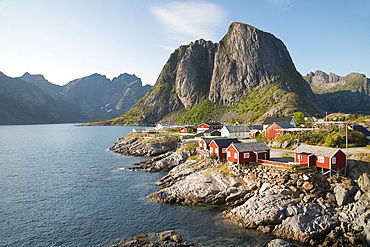 Hamnoy where rorbu (fishermen's huts) are now used for tourist accommodation, Lofoten Islands, Norway, Scandanavia, Europe