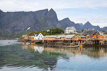Rorbu, traditional fishing huts used for tourist accommodation in village of Reine, Moskensoya, Lofoten Islands, Norway, Europe