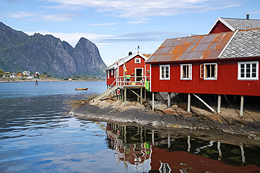 Rorbu, traditional fishermen's cabins now used for tourist accommodation in Reine, Moskenesoya, The Lofoten Islands, Norway, Europe