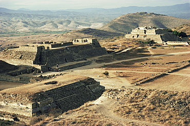 The Great Plaza looking northwest, Monte Alban, UNESCO World Heritage Site, Mexico, North America