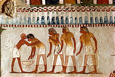 Harvesting scene from the 18th Dynasty land steward Sheikh Aba el Kurna, Tomb of Menna, Tombs of the Nobles, Thebes, UNESCO World Heritage Site, Egypt, North Africa, Africa