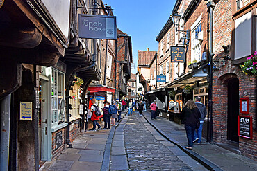 The Shambles, the ancient street of the butchers of York, mentioned in the Doomsday Book of William the Conqueror, York, Yorkshire, England, United Kingdom, Europe