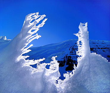 Melting Snow in Front of a Mountain, Antartica
