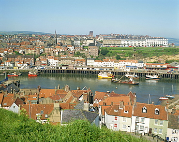 View over Whitby from St. Mary's Parish Church, North Yorkshire, Yorkshire, England, United Kingdom, Europe