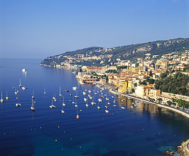 Sailing Boats off the Coast of Villefrance-Sur-Mer, Provence, France
