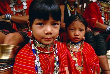 Two 'Big ears' Padaung tribe girls in Nai Soi, Mae Hong Son Province, Thailand, Asia