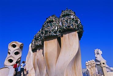 Gaudi architecture, Casa Mila, La Pedrera house,UNESCO World Heritage Site, Barcelona, Catalunya (Catalonia) (Cataluna), Spain, Europe