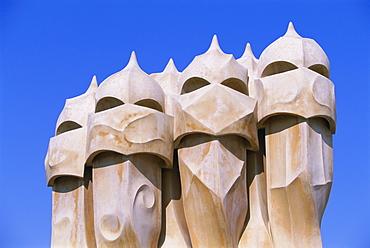 Gaudi architecture, Casa Mila, La Pedrera house, UNESCO World Heritage Site, Barcelona, Catalunya (Catalonia) (Cataluna), Spain, Europe