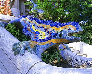 Gaudi architecture, Parc Guell, UNESCO World Heritage Site, Barcelona, Catalunya (Catalonia) (Cataluna), Spain, Europe