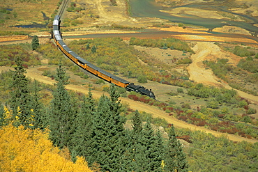 Narrow gauge steam railway in autumn, Silverton, Colorado, USA, North America