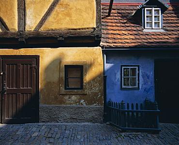 Colourful old buildings in Golden Lane, Prague, Czech Republic, Europe