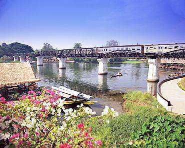 The Death Railway bridge on the River Kwai (Saphan Mae Nam Khwae Yai), Kanchanaburi, Kanchanaburi Province, Thailand, Southeast Asia, Asia