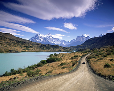 Cuernos del Paine rising up above Rio Paine, Torres del Paine National Park, Patagonia, Chile, South America - 252-10648
