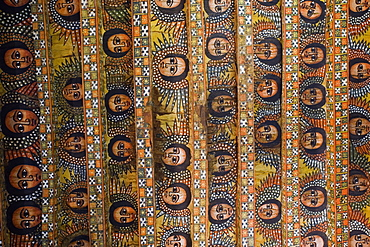 The famous painting on the ceiling of the winged heads of 80 Ethiopian cherubs, UNESCO World Heritage Site, Trinity of the Mount of Light, Gonder, Debre Selassie Church, Ethiopia, Africa