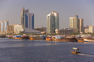 Dubai Creek (Khor Dubai), Dhow Wharfage and Commercial Centre, Deira, Dubai, United Arab Emirates, Middle East