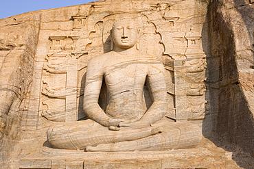 Rock carved granite image of the seated Buddha, Gal Vihara, Polonnaruwa (Polonnaruva), UNESCO World Heritage Site, Sri Lanka, Asia