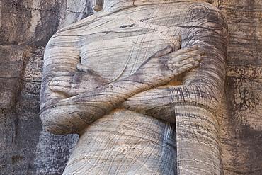 Detail of the rock carved granite image of the 7m tall standing Buddha, Gal Vihara, Polonnaruwa (Polonnaruva), UNESCO World Heritage Site, Sri Lanka, Asia